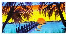 Beach Towel featuring the painting Dock At Sunset by Ecinja Art Works