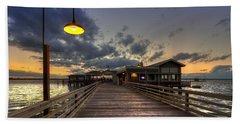 Dock Lights At Jekyll Island Beach Towel