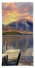 Beach Towel featuring the photograph Dock On Lake Mcdonald by Marty Koch