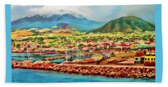 Beach Towel featuring the mixed media Docked In St. Kitts by Deborah Boyd