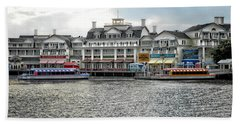 Docking At The Boardwalk Walt Disney World Beach Towel by Thomas Woolworth