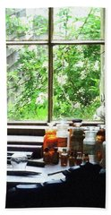 Beach Towel featuring the photograph Doctor - Medicine And Hurricane Lamp by Susan Savad