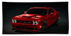 Dodge Challenger S R T Hellcat Beach Towel by Movie Poster Prints