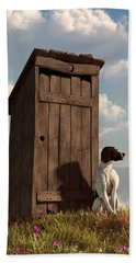 Dog Guarding An Outhouse Beach Towel by Daniel Eskridge