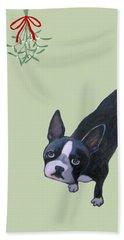Dog With Mistletoe  Beach Towel