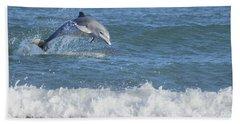 Dolphin In Surf Beach Towel