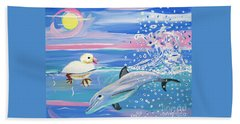 Dolphin Plays With Duckling Beach Sheet by Phyllis Kaltenbach