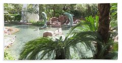 Beach Towel featuring the photograph Dolphin Pond And Garden Green by Navin Joshi