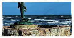 Dolphin Statue Beach Towel by Judy Vincent