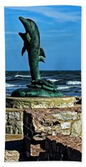 Dolphin Statue Beach Sheet by Judy Vincent
