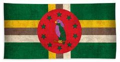 Dominica Flag Vintage Distressed Finish Beach Towel