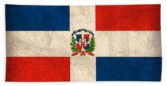 Dominican Republic Flag Vintage Distressed Finish Beach Towel