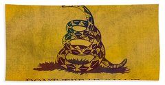 Don't Tread On Me Gadsden Flag Patriotic Emblem On Worn Distressed Yellowed Parchment Beach Towel