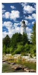 Cana Island Lighthouse Cloudscape In Door County Beach Towel