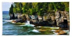 Door County Cave Point Cliffs Beach Towel
