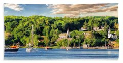 Door County Ephraim Harbor Sunset  Panorama Beach Towel by Christopher Arndt