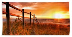 Door County Europe Bay Fence Sunrise Beach Towel by Christopher Arndt