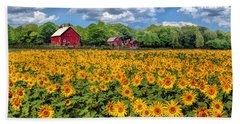 Door County Field Of Sunflowers Panorama Beach Towel