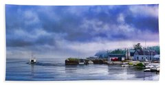 Door County Gills Rock Morning Catch Panorama Beach Towel by Christopher Arndt