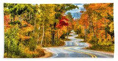 Door County Road To Northport In Autumn Beach Towel by Christopher Arndt