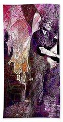 Double Bass Silhouette  Beach Towel by Ian Gledhill