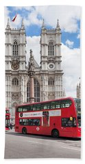 Double-decker Buses Passing Beach Towel by Panoramic Images