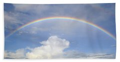 Beach Towel featuring the photograph Double Rainbow At Sea by Bradford Martin