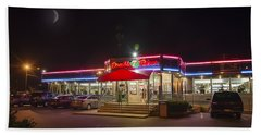 Double T Diner At Night Beach Sheet by Brian Wallace