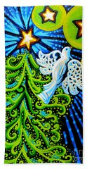 Dove And Christmas Tree Beach Towel by Genevieve Esson