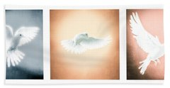 Dove In Flight Triptych Beach Towel by YoPedro