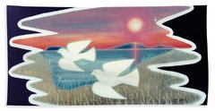 Beach Towel featuring the painting Doves by Jason Girard