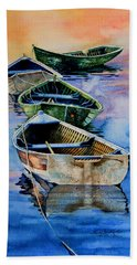 Beach Towel featuring the painting Down East Dories At Dawn by Hanne Lore Koehler