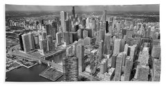 Downtown Chicago Aerial Black And White Beach Sheet by Adam Romanowicz