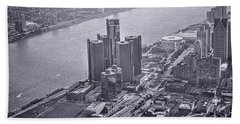 Downtown Detroit Beach Towel by Nicholas  Grunas