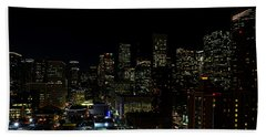 Downtown Houston At Night Beach Sheet by Judy Vincent