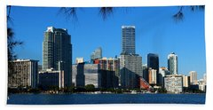 Downtown Miami Skyline Beach Sheet by Christiane Schulze Art And Photography