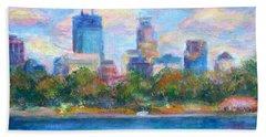 Downtown Minneapolis Skyline From Lake Calhoun Beach Sheet