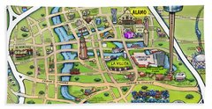Downtown San Antonio Texas Cartoon Map Beach Towel