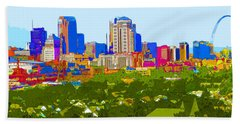 Downtown St. Louis From The Southwest Abstract Beach Towel