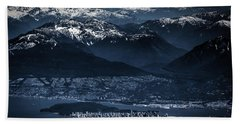 Downtown Vancouver And The Mountains Aerial View Low Key Beach Towel by Eti Reid