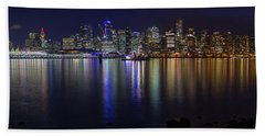 Downtown Vancouver Skyline By Night Beach Sheet