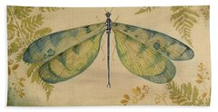 Dragonfly Among The Ferns-1 Beach Towel