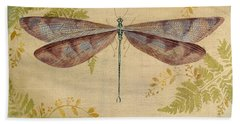 Dragonfly Among The Ferns-3 Beach Towel