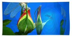 Beach Towel featuring the photograph Dragonfly And Bud On Blue by Joyce Dickens
