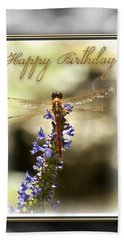 Dragonfly Birthday Card Beach Towel