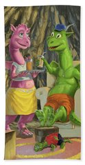 Dragons Relaxing At Home Beach Towel