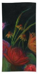Dramatic Floral Still Life Painting Beach Towel