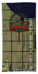 Drawing Of A Bid In A Cage In Front Of A Window Beach Towel