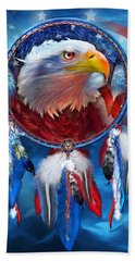 Dream Catcher - Eagle Red White Blue Beach Towel