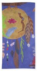 Beach Towel featuring the painting Dream Spirit Shield by Ellen Levinson